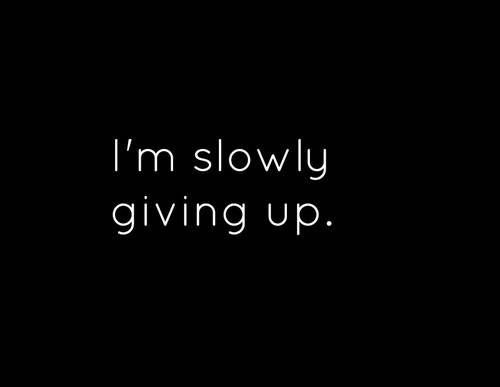 I am slowly giving up